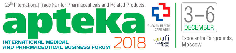 25-th International Trade Fair for Pharmaceuticals Related Products APTEKA 2018 - «Expocentre Fairgrounds» Pav.#7, Moscow, Russia